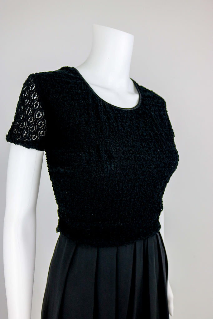 80's Black Open Knit Jumpsuit
