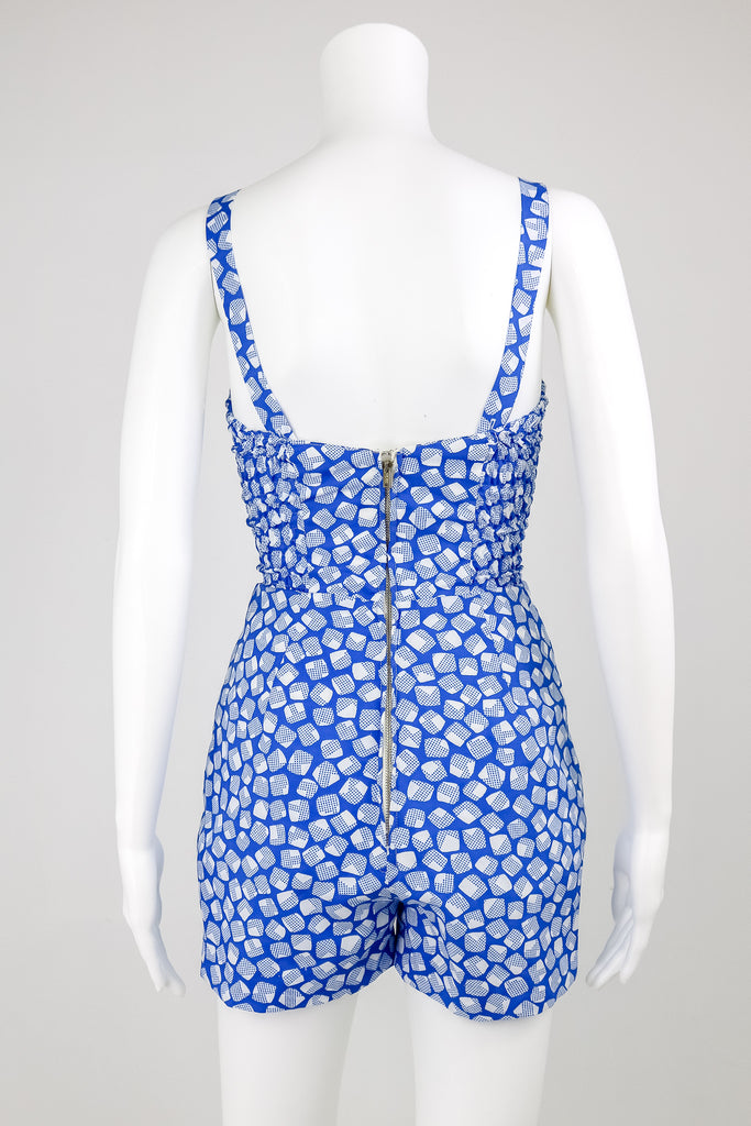50's 'Gabor' Playsuit with Ice Cube Pattern