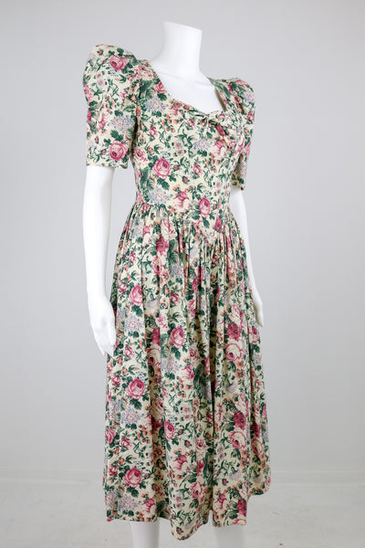 'Gunne Sax' 80's High Shoulder Floral Dress