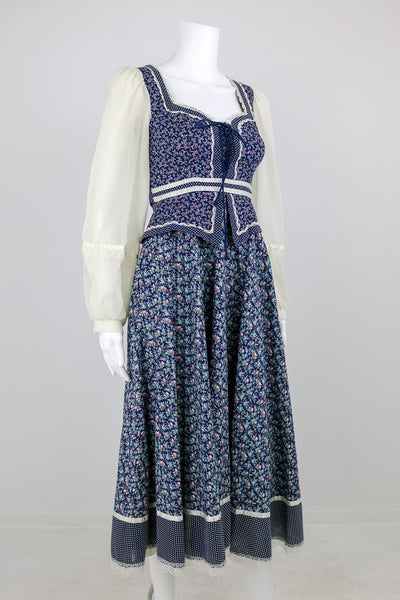 'Gunne Sax' 70's Navy Floral Boho Dress