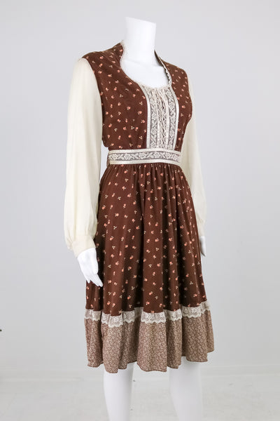 'Gunne Sax' 70's Brown Floral Boho Dress
