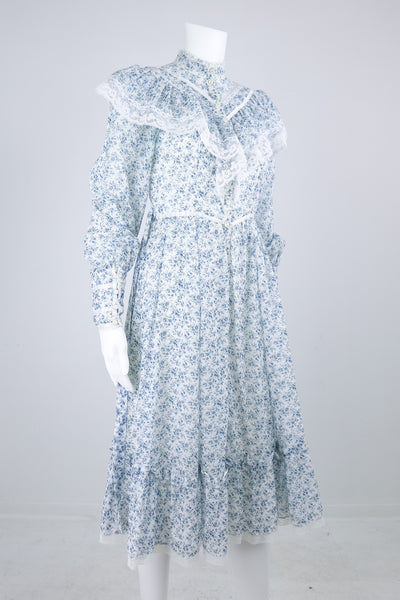'Gunne Sax' 70's Light Blue High Collared Floral Button Down Dress