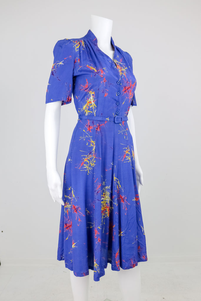 1940's Periwinkle Firework Dress