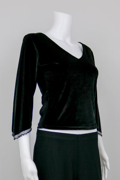 Black Velvet Raver Top with Beaded Cuffs