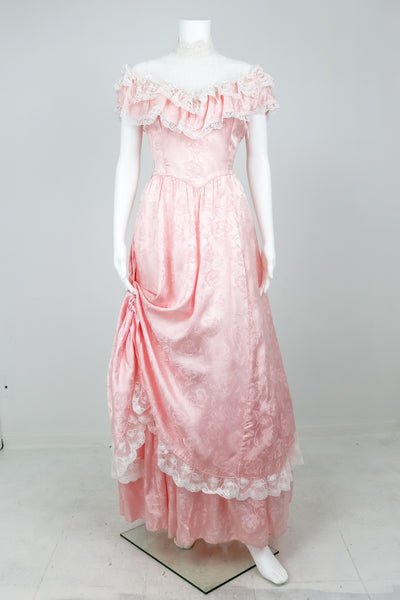 "'Gunne Sax"" Pink Satin and Lace Prom Dress with High Collar"
