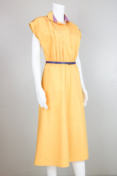 Yellow Collared Dress with Purple Detail & Leather Belt