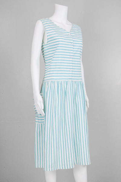 80's Striped Blue Sleeveless Dress with Pockets