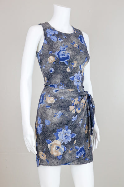 90's Blue Floral Mini Dress with Wrap Skirt