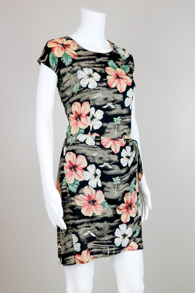 90's Charcoal and Pink Floral Patterned Wrap Dress