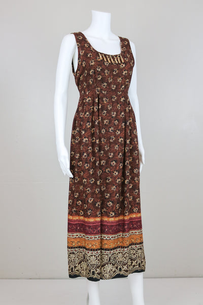 90's Brown Sleeveless Floral Dress with Wooden Beads Detail