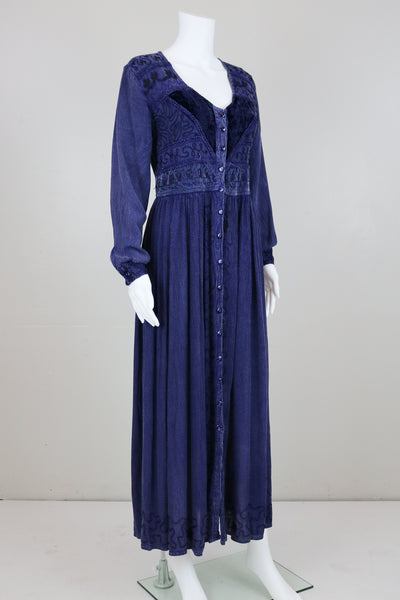 'M.P.H.' Plum Embroidered Long Sleeve Button Down Maxi Dress