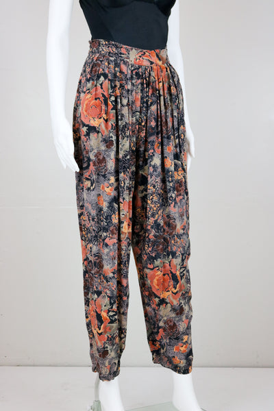 Mauve Floral Harem Pants with Pockets