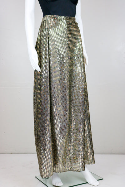 Gold Sequin Disco Maxi Skirt