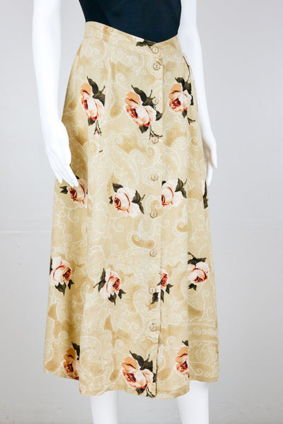90's Cream Rose Print Rayon Button Down Maxi Skirt