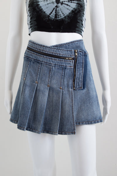 Pleated Denim Mini Skirt with Zippers