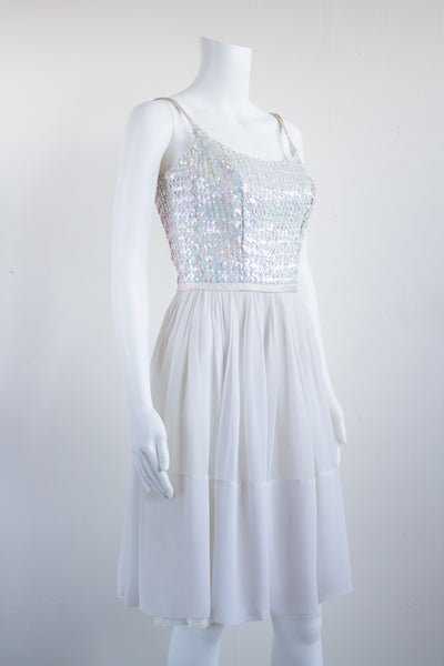 50s White Iridescent Sequined and Chiffon Princess Dress