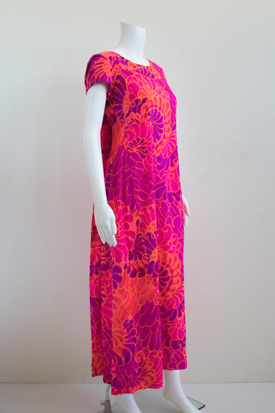 60s Psychedelic Pink Maxi Dress
