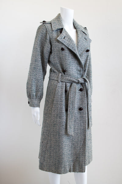 80s Pierre Cardin Herringbone Full Length Coat