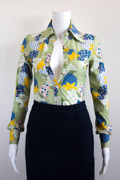 Psychedelic 60's Floral Print Collared Leotard