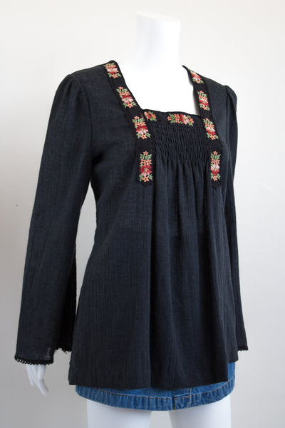 70's Bohemian Blouse with Embroidered Neckline
