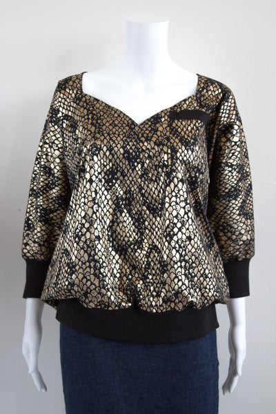 Black & Gold Snake Print 80's Blouse