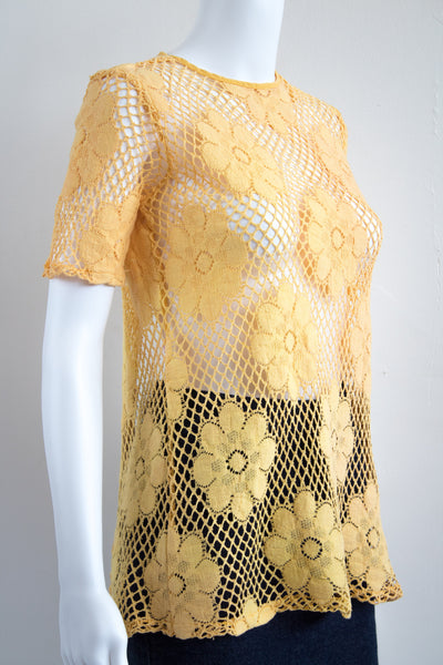 60's Daisy Knit See Through Open Back Blouse