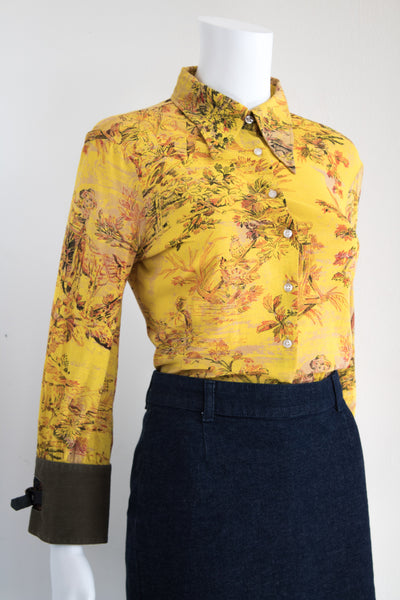 Printed Yellow Blouse with Military Style Cuffs
