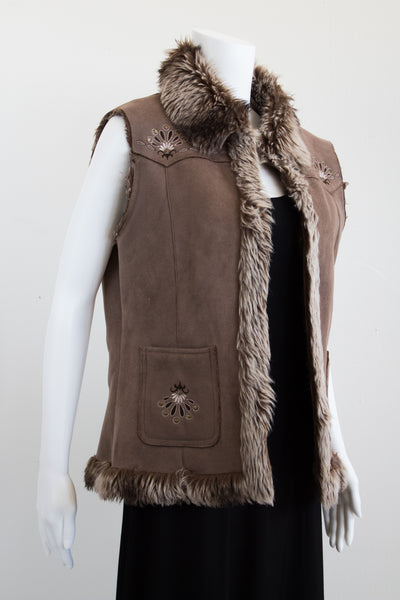 Faux Suede and Fur Lined Boho Embroidered Vest