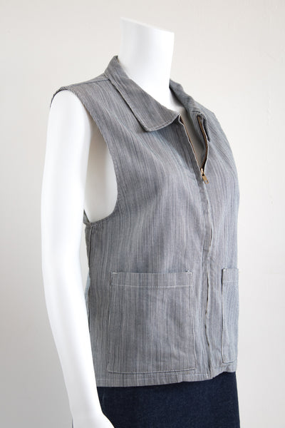 Striped Denim Vest with Tails