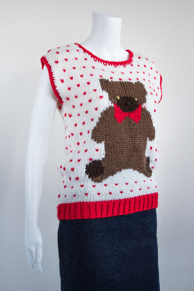 80's Sweetheart Teddy Bear Knit Sweater Vest