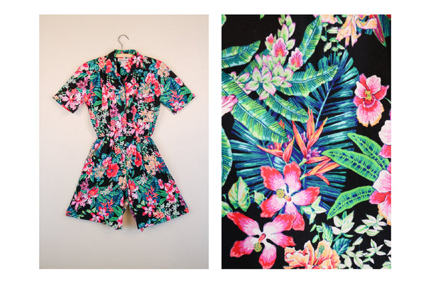 80's Floral Jungle Print Romper Resort Wear Cruise Festival Outfit
