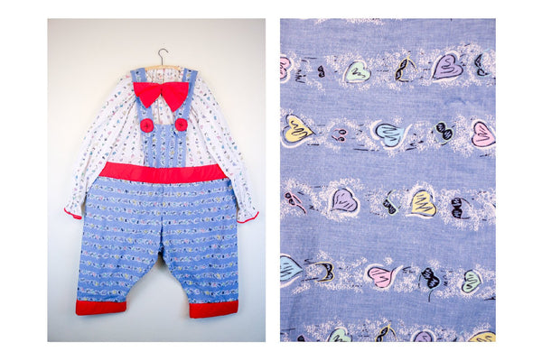 Vintage Clown Suit - Hula Hoop Waist Band  80's Pastel Heart Print Clown Suit with Built in Matching Suspenders and Big Bowtie