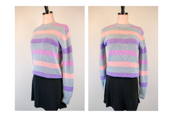 80's Vintage Prep 'Abercrombie & Fitch' Pastel Striped Knit Sweater