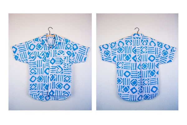 80's Blue and White Tribal Men's Vintage Short Sleeve Button Up