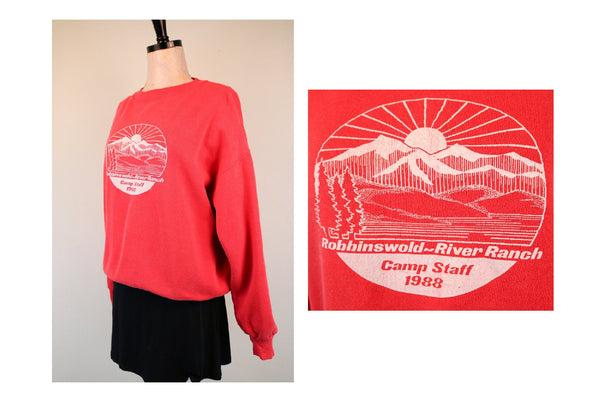 80's Red Washington Summer Camp Sweatshirt Robbinswold River Ranch