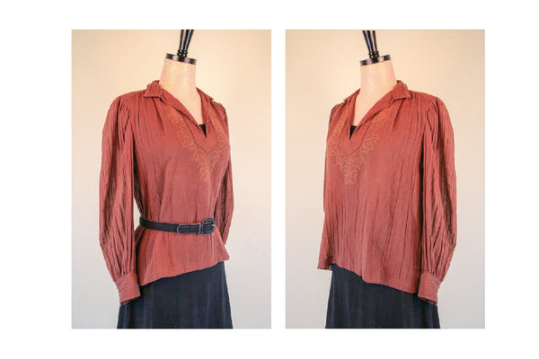 1970's Brown Cotton Crepe Boho Blouse with Gold Mustard Details Bohemian Chic