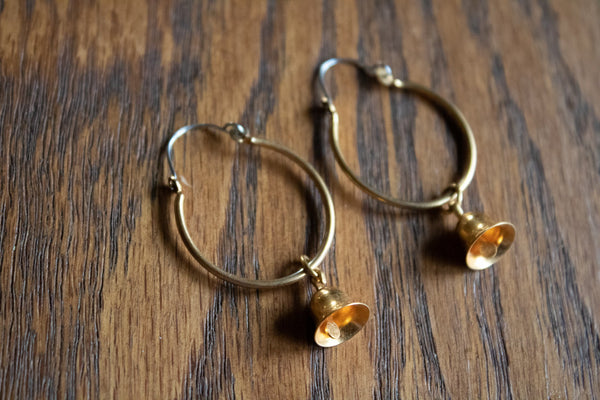 Vintage Hoop Earrings with Tiny Bells