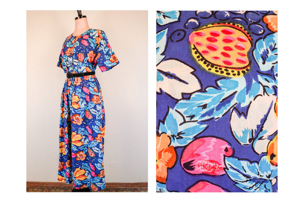 80's Blue and Pink Bright Floral Short Sleeve Indian Cotton Romper Wide Leg Jumpsuit Size Large