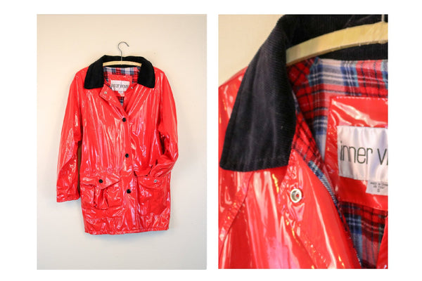 90's Red Rain Slicker with Flannel Plaid Lining
