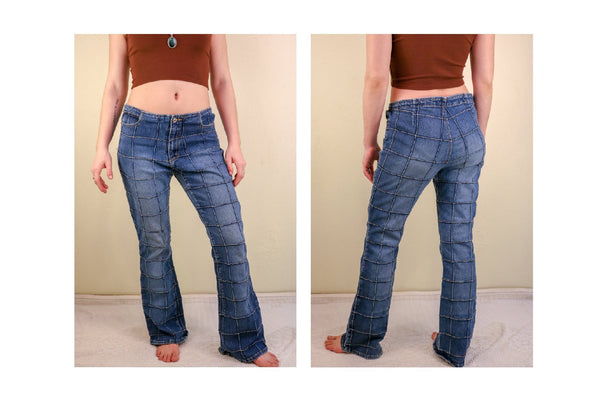 90's Denim Faux Patchwork Flare Low Rise Jeans Rave Raver Gear