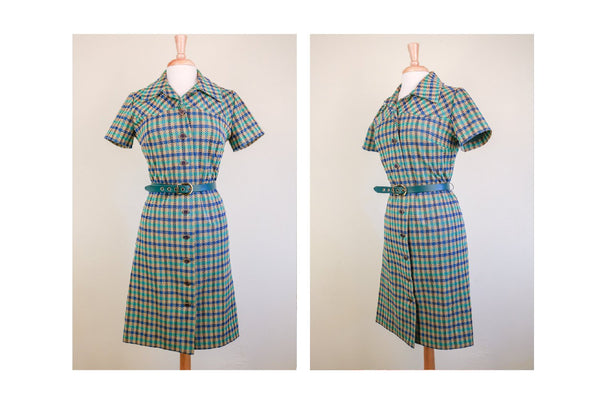 1960's Plaid Blue/Green Belted 60's Mad Men Dress