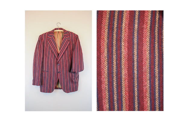 1950's Men's Striped Red Blue Blazer Sinner Jacket
