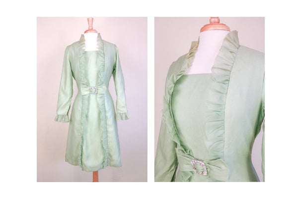 1950's Mrs. Maisel Ruffled Mint Green Formal Dress