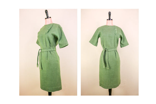 1960's Wool Sage Green 'Mad Men' Dress with Belt and Fringed Collar