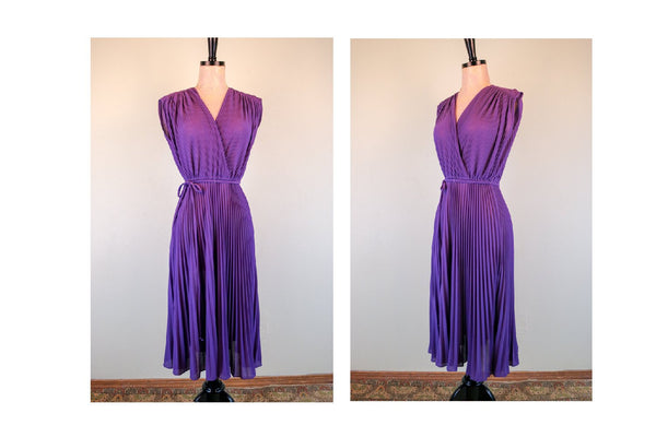 70's Plum Accordion Pleated  Sleeveless Dress with string belt Disco Summer