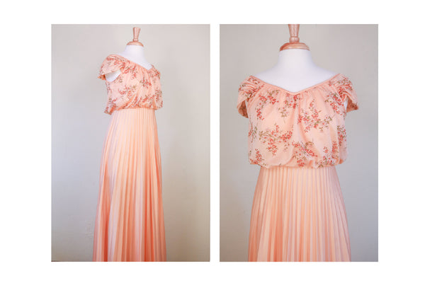 70's Peach Floral Pleated Floral Maxi Boho Dress Ceremony Goddess Bohemian