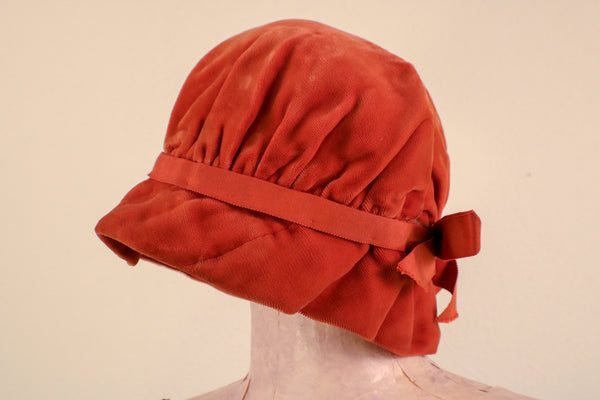 1940's Silk Velvet Burn Orange Hat Size XS