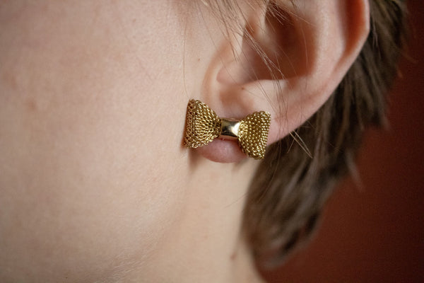 60's Darling Gold Toned Mesh Bow Stud Earrings
