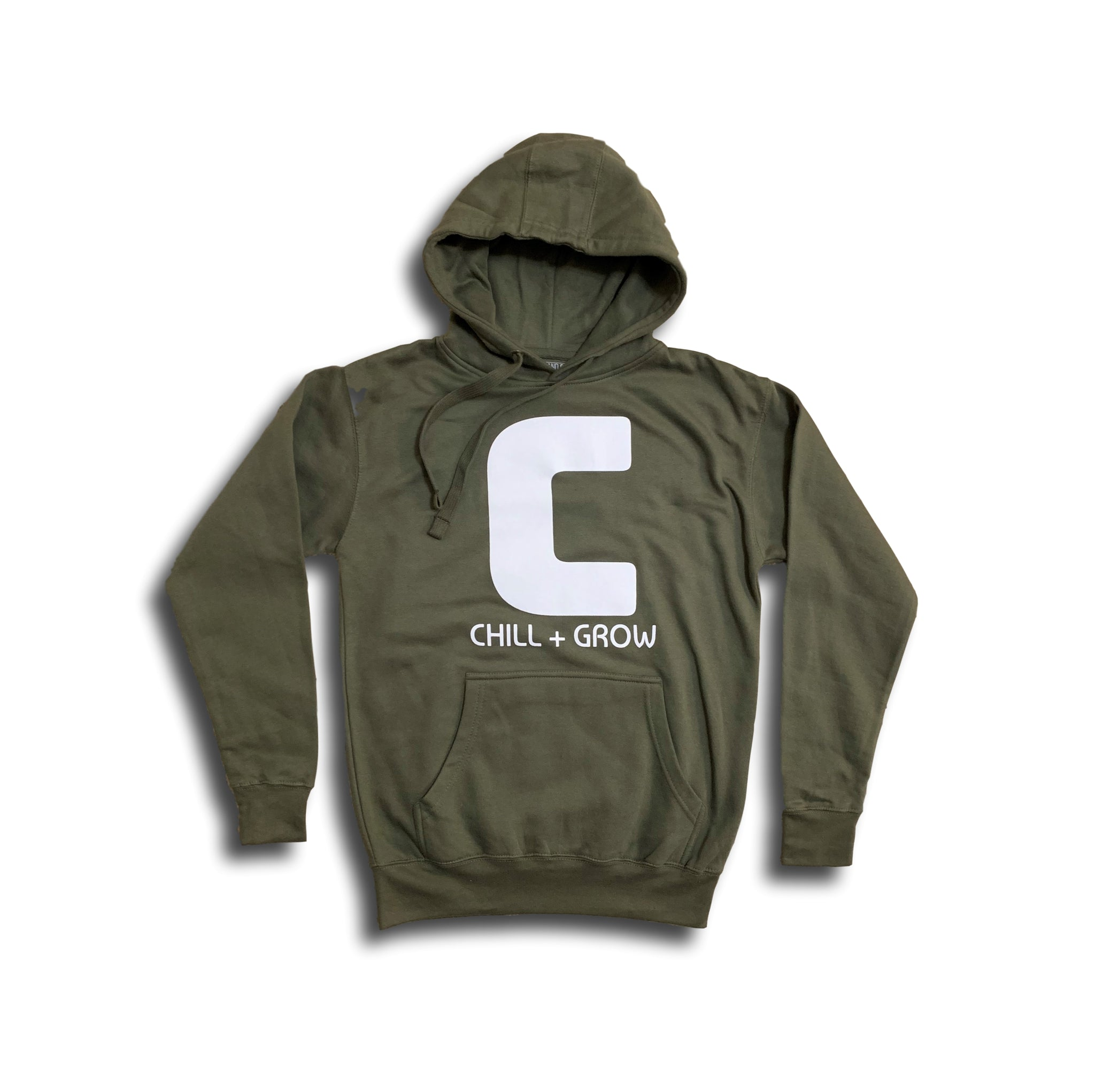 "Chill + Grow  ""BIG C"" adult hoodies (army green/white)"