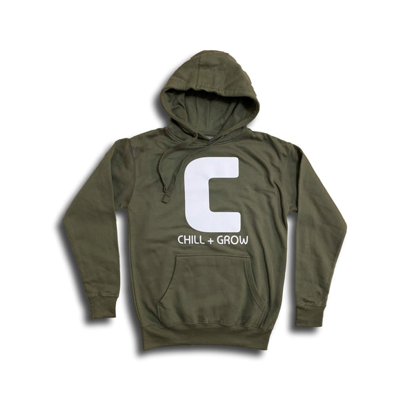 "Chill + Grow ""BIG C"" adult hoodies (maroon/white)"